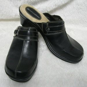 Naturalizer Wedge Mules Black Leather Upper Size 8